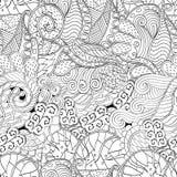 Орнамент Tracery изогнутый mehndi Этнический мотив, monochrome бинарная гармоничная текстура doodle черная белизна вектор Стоковые Фотографии RF