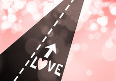 дорога влюбленности сердца к Стоковая Фотография