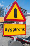 дорога конструкции вниз Предупреждение возгласа Стоковая Фотография