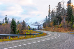 дорога к снежным пикам Стоковые Изображения RF