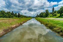 Оросительный канал с голубым небом Стоковые Фотографии RF