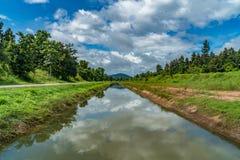 Оросительный канал с голубым небом Стоковая Фотография