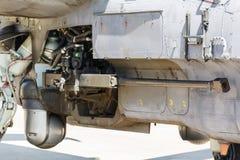 Оружие воздушных судн установленное на воинский вертолет Стоковое Фото