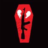 Оружие, гроб и разбитый сердце иллюстрация вектора