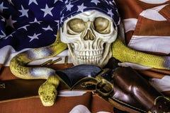 Оружие и змейка черепа на американском флаге Стоковые Фотографии RF
