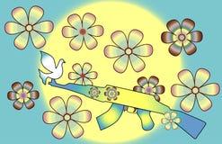 Оружие растет цветки в мире без войны иллюстрация вектора