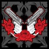 оружие удерживания 2 рук с розой, вектором бесплатная иллюстрация