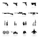 оружия иконы установленные Стоковое Изображение