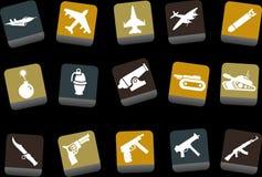 оружия иконы установленные иллюстрация вектора