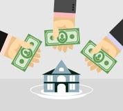 Оружия и деньги покупая дом домашний продавать Illustr дела иллюстрация штока