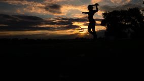 Оружия сильной женщины доверия открытые под восходом солнца на замедленном движении взморья сток-видео