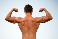 Оружия с кулаками, задний взгляд человека или спортсмена изгибая Стоковые Фотографии RF
