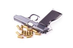 Оружи и боеприпасы изолированные на белой предпосылке Стоковое фото RF