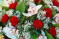 Орхидеи и розы Стоковая Фотография RF
