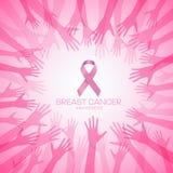 ОСВЕДОМЛЕННОСТЬ рака молочной железы с розовой лентой в дизайне иллюстрации вектора рук круга иллюстрация штока