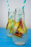 Освежая чай со льдом с зрелыми персиками на деревенской предпосылке, sele Стоковое фото RF