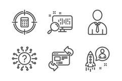 Освежите набор значков вебсайта, вопросительного знака поиска и Цель человеческих, калькулятора и знаки запуска r иллюстрация штока
