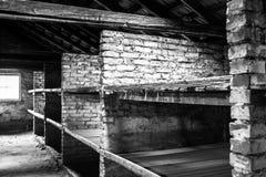 ОСВЕНЦИМ, ПОЛЬША - 11-ое июля 2017 Комната внутренности казармы живущая на Стоковое Фото