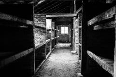 ОСВЕНЦИМ, ПОЛЬША - 11-ое июля 2017 Комната внутренности казармы живущая на Стоковые Изображения RF