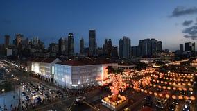 Осветите вверх улицы Чайна-тауна сток-видео
