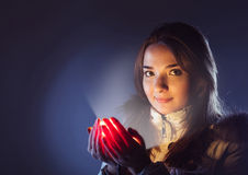 Осветите в ладонь девушки Стоковое Изображение RF