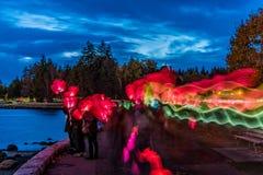 Осветите прогулку Ванкувер ночи, Британскую Колумбию, Канаду Стоковые Изображения