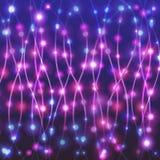 Освещает праздничные украшения Иллюстрация вектора с светлыми гирляндами Стоковое фото RF