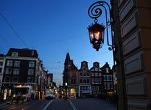 Освещение вечера в Амстердаме Стоковые Фото