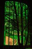 Освещение зеленого цвета архитектуры окон здания Стоковое фото RF