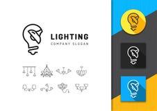 Освещение и логотип лампы, магазин ламп концепции, линия комплект значка иллюстрация штока