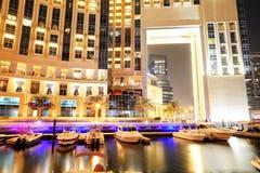 Освещение ночи Марины Дубай Стоковые Фотографии RF