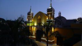 Освещение ночи старой обители в Лиме стоковое изображение