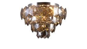 Освещение приведенное потолка хрустальной люстры современное стоковые изображения rf