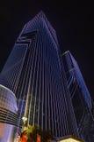Освещение приведенное Œnight ¼ wallï занавеса коммерчески здания Стоковая Фотография