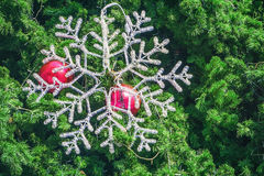 Освещение рождественской елки и снега Стоковое Изображение RF