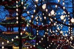 Освещения на рождестве на Tivoli в Копенгагене Стоковое фото RF