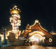 Освещения рождества в Abensberg, Германии Стоковые Фотографии RF