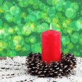 Освещенная красная свечка Стоковая Фотография