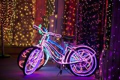 Освещенные в стиле фанк велосипеды Стоковая Фотография