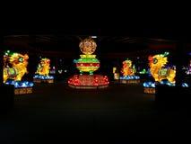 Освещенные китайские собаки дракона в павильоне Стоковая Фотография RF