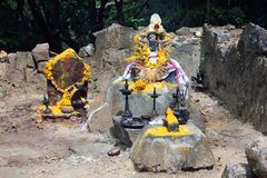 Освещенные масляные лампы и цветки предложили к богам, Agasthyakoodam, Керале, Индии Стоковые Изображения