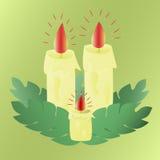 Освещенные свечи воска Стоковое Изображение