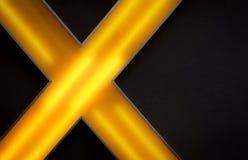 Освещенный контржурным светом желтый абстрактный крест на черной стене гостиницы Стоковые Фотографии RF
