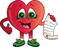 Здоровый контрольный список сердца иллюстрация штока