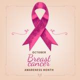 Осведомленность рака молочной железы Лента нарисованная рукой розовая с текстом Стоковые Фотографии RF