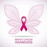 Осведомленность рака молочной железы с линией знаком бабочки и розовой иллюстрацией точки вектора ленты конструирует иллюстрация штока