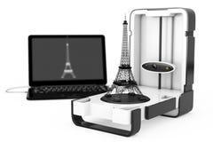 Освободите стоящий современный блок развертки дома 3D настольного компьютера подключенный к компьтер-книжке Стоковое Изображение