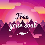 Освободите ваши предпосылку души и карточку с заходом солнца, горы Стоковое Фото