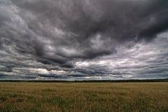 Осенние поле и небо Стоковое Изображение