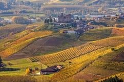 Осенние холмы Пьемонта, Италии Стоковая Фотография RF